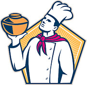 Chef Hat Prints - Chef Cook Holding Pot Retro Print by Aloysius Patrimonio