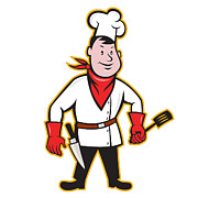 Isolated Digital Art - Chef Cook Standing Holding Spatula by Aloysius Patrimonio