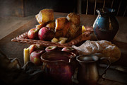 Old Pitcher Photos - Chef - Food - A tribute to Rembrandt - Apples and Rolls  by Mike Savad