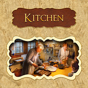 Cooks Photos - Chef Kitchen button by Mike Savad