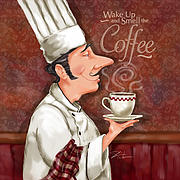 Food Humor Posters - Chef Smell the Coffee Poster by Shari Warren