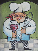 Chef Hat Framed Prints - Chef with Wine and Whisk Framed Print by Tim Nyberg