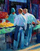 People Pastels Posters - Chefs at the market Poster by Jackie Simmonds