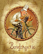 Italian Mixed Media Prints - Chefs on Bikes-Boulangerie Print by Shari Warren