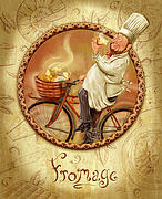 French Mixed Media Framed Prints - Chefs on Bikes-Fromage Framed Print by Shari Warren