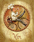 Italian Mixed Media Prints - Chefs on Bikes-Vin Print by Shari Warren