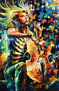 Original Oil Portrait Posters - Chelo Player Poster by Leonid Afremov