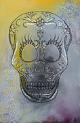 Skull Paintings - Chelsea Sugar Skull by Stephanie Troxell