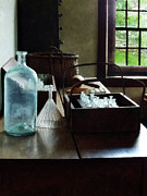 Lab Prints - Chemist - Bottles of Chemicals in a Wooden Box Print by Susan Savad