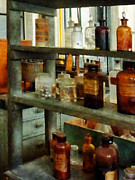 Lab Posters - Chemist - Bottles of Chemicals Tall and Short Poster by Susan Savad
