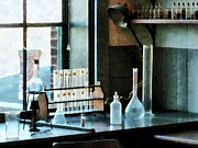 Labs Posters - Chemist - Glassware in Lab Poster by Susan Savad