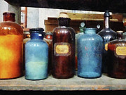 Laboratory Art - Chemist - Orange Brown and Blue Bottles by Susan Savad