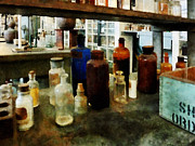 Chemistry Prints - Chemistry - Assorted Chemicals in Bottles Print by Susan Savad