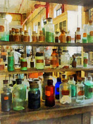 Labs Prints - Chemistry - Bottles of Chemicals Green and Brown Print by Susan Savad