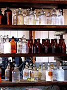 Lab Prints - Chemistry - Bottles of Chemicals on Shelves Print by Susan Savad