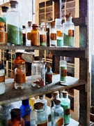 Labs Posters - Chemistry - Bottles of Chemicals Poster by Susan Savad