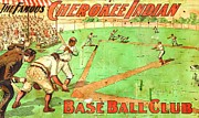 Baseball Drawings Posters - Cherokee - Baseball Club Poster by Pg Reproductions