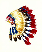 Native American Watercolor Paintings - Cherokee Headdress by Michael Vigliotti
