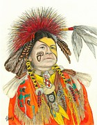 Native Americans Drawings Posters - Cherokee in Orange Poster by Lew Davis