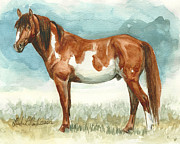 Mustang Paintings - Cherokee Wild Stallion of Sand Wash Basin by Linda L Martin