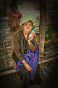 Smoker Digital Art Prints - Cheroot Smoker Myanmar Print by Rory Brennan