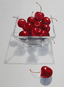 Food Paintings - Cherries and Glass Bowl by Jean Yates