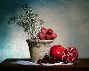 Fruit Still Life Framed Prints - Cherries and Pommegranates Framed Print by Levin Rodriguez