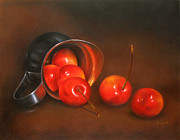 Reflection Drawings - Cherries and Silver by Ranjini Venkatachari