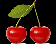 Edible Framed Prints - Cherries Framed Print by Cheryl Young