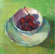 Impressionist Drawings Posters - Cherries in a Cup #2 Poster by Svetlana Novikova