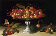 Silver Bowl Posters - Cherries in a Silver compote with crabapples Poster by Fede Galizia