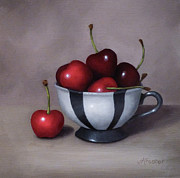 Jordan Painting Posters - Cherries in a Teacup Poster by Jordan Avery Foster