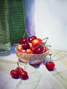 Printmaking Painting Posters - Cherries Poster by Irina Sztukowski