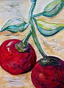 Fruits Metal Prints - Cherries on White Chocolate Metal Print by Eloise Schneider