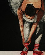 Ballet Dancers Paintings - Cherry Ballet Shoes by Cris Motta