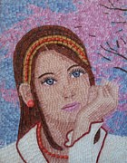 Mosaic Glass Portrait Mixed Media Prints - Cherry Blossom Print by Liza Wheeler