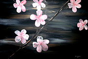 Silver Moonlight Painting Framed Prints - Cherry Blossom  Framed Print by Mark Moore