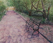 Park Scene Mixed Media Metal Prints - Cherry Blossom Pathway Metal Print by Patsy Sharpe