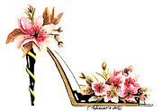 Stilettos Paintings - Cherry Blossom Stiletto  by Elena  Feliciano