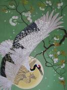 Crane Painting Originals - Cherry Blossom by Vlasta Smola