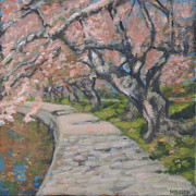 Cherry Blossoms Painting Originals - Cherry Blossom Walkway by Suzanne Shelden