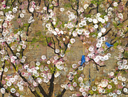 Birds Mixed Media Metal Prints - Cherry Blossoms and Blue Birds Metal Print by Blenda Tyvoll