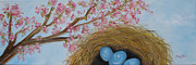 Tree Blossoms Paintings - Cherry Blossoms and Robins Nest by Judith Rhue