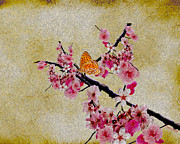 Butterfly Digital Art Posters - Cherry Blossoms Poster by Cheryl Young