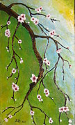 Cherry Blossoms Painting Metal Prints - Cherry Blossoms Metal Print by Elena  Constantinescu