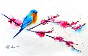 Bluebird Painting Originals - Cherry Blossoms For You by Andrea Realpe