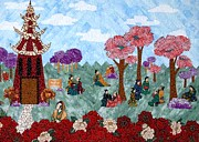 Japan Tapestries - Textiles - Cherry Blossoms by Jean Baardsen