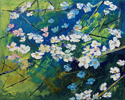 Impasto Photo Posters - Cherry Blossoms Poster by Michael Creese