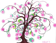 Tree Blossoms Drawings - Cherry Blossoms by Nina Kuriloff