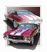 Red Chevy Chevelle Prints - Cherry Bomb Print by Roger Beltz